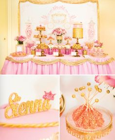royal princess birthday party dessert table pink gold hostess with the mostess