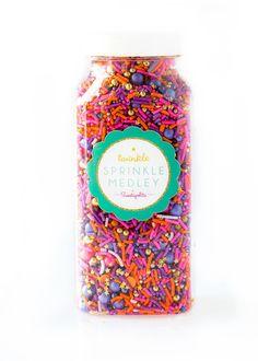Sunset Twinkle Sprinkle Medley, Pink and Gold, Purple Sprinkles, Sunset Colors, Sprinkle Mix, Pink Sprinkles, Gold Beads -- Med (8 oz)