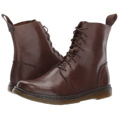 Dr. Martens Danica 8-Eye Boot (Dark Brown New Oily Illusion) Women's... ($120) ❤ liked on Polyvore featuring shoes, boots, dark brown lace up boots, wing tip boots, dr martens boots, laced up shoes and balmoral boots
