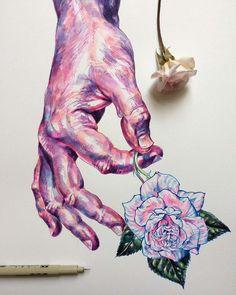 Hands and Flowers – Les illustrations poétiques de Noel Badges Pugh ...