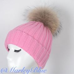 Adorable Pink Knit Hat w Genuine Fur Pompom ❄️Absolutely beautiful! Pink knitted hat with large raccoon fur pompom. High quality, thick hat...will keep your head nice and warm in the colder weather. Pompom is easily detachable so hat can be washed. Brand new hat. 30% wool 70% acrylic. Please check out the rest of my closet. 20% off 2 or more items!! Accessories Hats