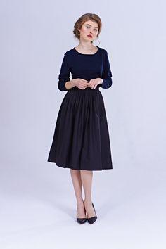 50s Skirt black skirt 1950 skirt 50s pleated skirt door mrspomeranz