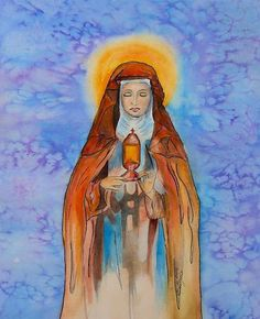St. Clare Of Assisi Print By Myrna Migala