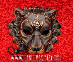 FREE SHIPPING USA  Regal Black Lion Mask ... handmade by Merimask