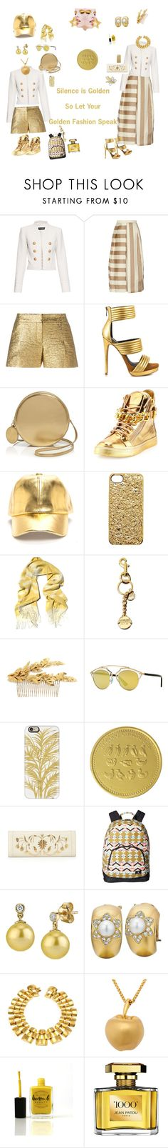 """""""Golden Times"""" by harts2raines ❤ liked on Polyvore featuring Balmain, TIBI, Lanvin, Mia Limited Edition, Boutique Moschino, Giuseppe Zanotti, Marc by Marc Jacobs, Ketzali, Moschino and J.Crew"""