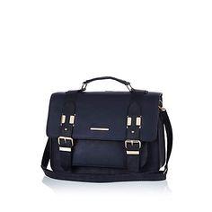 Navy blue large satchel #riverisland