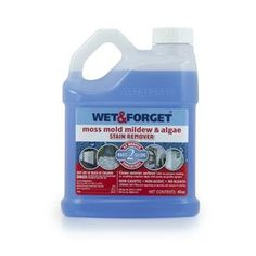 Wet and Forget Liquid Mildew Remover Used this product years ago when it first came out on the market. Hubs even talked to the inventor. Works great on exterior anything! Green algae stains gradually came of deck and stayed looking good for a year. Mold Removal Spray, Diy Mold Remover, Mold And Mildew Remover, Cleaning Mold, Cleaning Hacks, Mildew Stains, Get Rid Of Mold, Outdoor Carpet