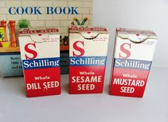 Schilling Spice Boxes Whole Seed 1950s Set Of Three Vintage | Etsy