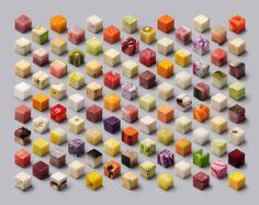 野菜や肉などを2.5cmの立方体にカットして等間隔に並べたユニークなポスター「Cubes」 | ARTIST DATABASE