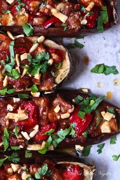 Stuffed Eggplant Aubergine Recipe @ Not Quite Nigella