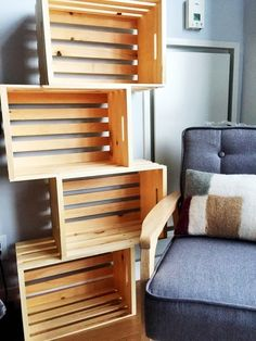 Built in Brooklyn, this raw, unfinished pine-box crate shelf has been fitted with brass hardware.