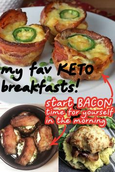 These keto breakfasts are the BEST! So many keto breakfast recipes to make in the morning on my keto diet! The bacon egg cups are my fav keto breakfast idea!!Which low carb breakfast are you going to make first???? LCHF breakfasts!!!