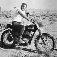 Steve McQueen on his Trimuph Motorcycle