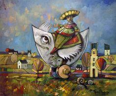 Obecnie na aukcjach Andrzej Gudanski - Mexican rider Surrealism, Auction, Mexican, Symbols, Canvas, Painting, Art, Tela, Art Background