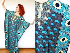 ef3dbd12434a Vintage Tanzanian Blue Abstract Floral Print Caftan Dress w/ Embroidery //  mumu… Tribal