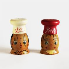 Vintage Salt and Pepper Shakers Wood Salty and by MiesEnScene