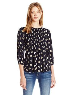 Blu Pepper Womens Floral Print Jacquard Long Sleeve Top Navy Multi Large *** For more information, visit image link.(This is an Amazon affiliate link and I receive a commission for the sales)
