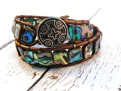 Boho Abalone on Brown Leather Double Wrap Bracelet/ by GloryGift, $48.00