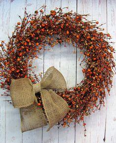 Extra Full X Large  Fall Wreath  Rustic Wreath  by Designawreath