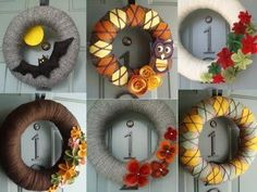 fall diy wreaths - the bat one is so cute for Halloween!