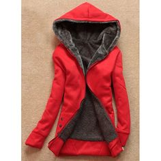 $21.06 Stylish Long Sleeves Solid Color Flocking Hooded Hoodie For Women