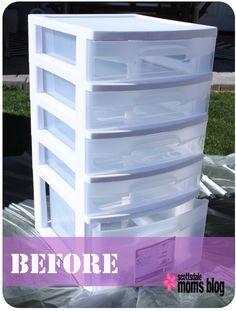 Spray Paint the plastic storage drawers....
