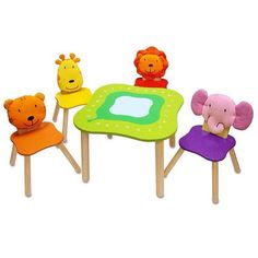 """""""A bright and cheerful way to add some extra colour to the playroom!  #woodenwonderland #woodentoys #woodtoys #forestanimaltable #kidschairs #animalchairs…"""""""