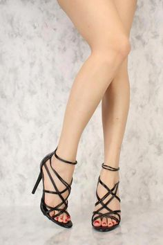 36ad4ce3d84 Black Criss Cross Strappy Open Toe Single Sole High Heel Patent   Blackhighheels