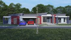 This Morden designed 3 Bedroom House Plan Boasts Full Master Suite including walk-in closet, 2 Bedrooms with showers, Open plan living area including Kitchen with Scullery, Playroom, Study Double Garage Home Design Floor Plans, Plan Design, My Building, Building Plans, Floor Layout, Double Garage, Bedroom House Plans, Open Plan Living, Crib