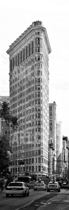 Vertical Panoramic of Flatiron Building and 5th Ave, Black and White Photography, Manhattan, NYC Photographic Print by Philippe Hugonnard at Art.com
