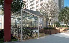 Bike sharing e estação fitness ao ar livre