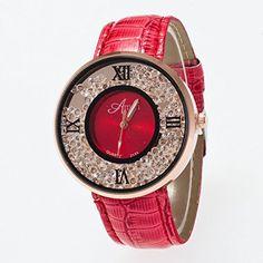 Nette Damen Uhr rundes Zifferblatt Analoge Uhr mit Strass und Kunsperlen Dekoration Rot - http://geschirrkaufen.online/sanwood/rot-nette-damen-uhr-rundes-zifferblatt-analoge