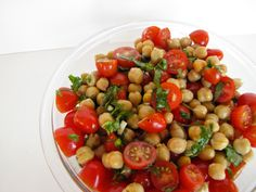 ChowGals: Chickpea Tomato and Basil Salad