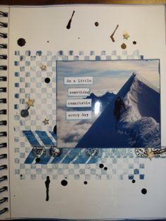 mountain... art journal spread.