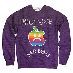 Sad Boys Apple Sweatshirt Vaporwave Clothing, Anime Boyfriend, Fleece Fabric, Sad, Graphic Sweatshirt, Apple, Sweatshirts, Boys, Clothes