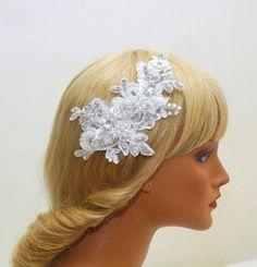 Crystal Bridal Headband Wedding Lace by AyansiWeddingDesigns