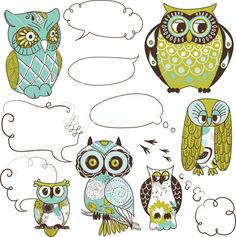 Owls stock image - blue green brown