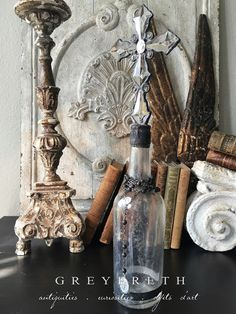 French Country Christmas, Crystal Cross, California Style, Vintage Antiques, Beautiful Homes, Art Pieces, Bottles, Christmas Gifts, Handmade