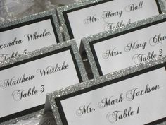 Glitter Tented Place Cards Set of 50 Name Cards Escort Cards Wedding Anniversary Bridal Shower Party Customized Name Color