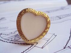 Anel Vintage Coração Branco (Peça única) R$24.00