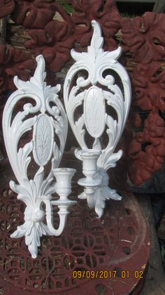 Vtg 1962 Pair Syroco Cream Color Victorian Scroll Designs Candle Holders Wall…