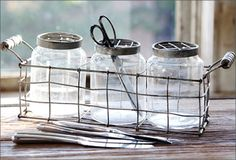 Trendy decoration look - $32.00 with metal carrier: Antique Farmhouse.com