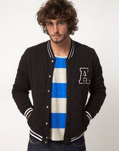 This jacket by ASOS has been constructed in cotton. It comes in a regular fit. The details include: striped rib collar, snap button opening, applique on chest, side pockets, ribbed hem and cuffs and diamond quilting throughout. Mens Trends, Diamond Quilt, Men's Wardrobe, Ready To Wear, Applique, Asos, Varsity Jackets, Menswear, Mens Fashion