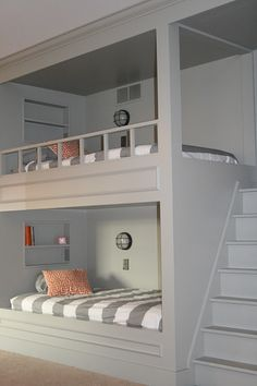 August Fields: boys bunk room update Like this. Bunk Beds Built In, Cool Bunk Beds, Kids Bunk Beds, Best Bunk Beds, Boys Bedroom Ideas With Bunk Beds, Cool Kids Beds, Built In Beds For Kids, Bunk Bed Wall, Custom Bunk Beds