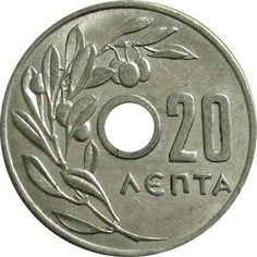 GRECIA  / 1954  -  20 LEPTA Coins, Money, Personalized Items, Paper, Silver, Gold, Old Coins, Hanging Medals, Greece