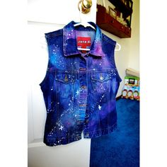 Galaxy Sleeveless Jacket ($30) ❤ liked on Polyvore featuring outerwear, jackets, vests, blue jackets, blue sleeveless jacket, no sleeve jacket, sleeveless jacket and galaxy print jacket