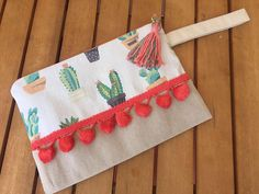 Two-toned Canvas Cactus Pochette Clutch