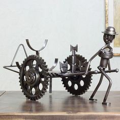 """Farm Wagon"" Wine Rack made from recycled car parts by Armando Ramírez - from Novica"