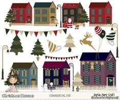 Clipart Christmas Houses and Santa Instant by DigitalPaperCraft, $5.00