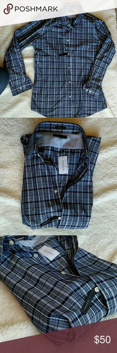 NWT Banana Republic Camden fit shirt L NWT blue and grey plaid dress shirt.  The Camden fit is for those not looking for slim cut or loose, but right in the middle.  No issues, just didn't wear it.  C'mon, get it for your closet! Banana Republic Shirts Dress Shirts